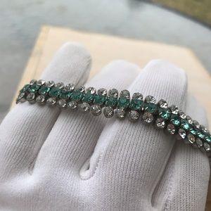 "3 Row White Blue Crystal Tennis Bracelet 7"""